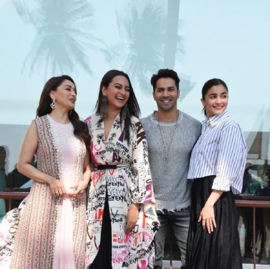 PHOTOS: Varun Dhawan, Alia Bhatt, Sonakshi Sinha & Madhuri Dixit promote Kalank on a breezy Monday afternoon