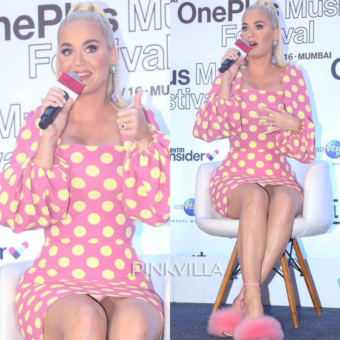 Katy Perry has an 'oops' wardrobe malfunction moment in a cute polka dot outfit in the city