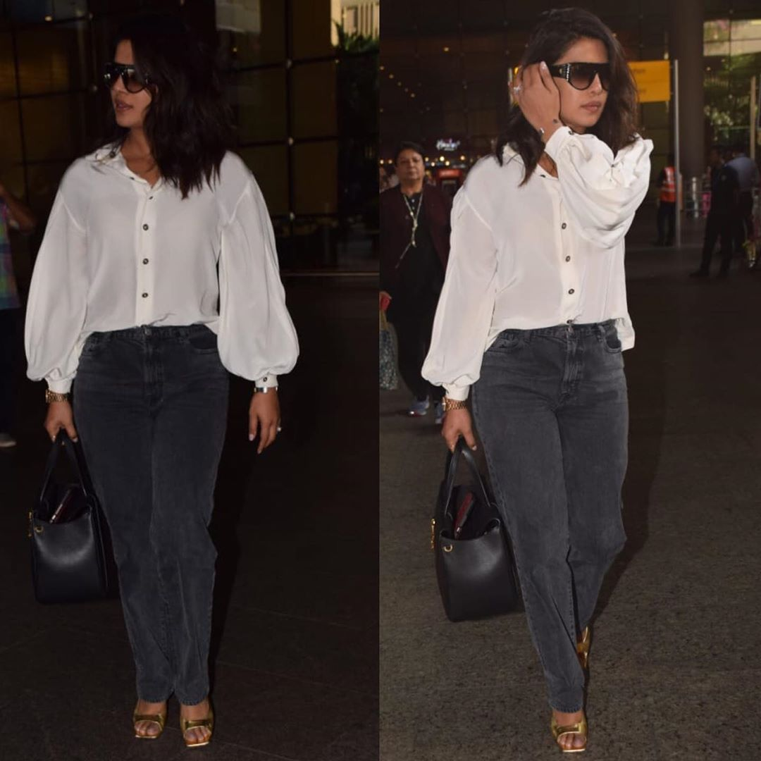 Priyanka Chopra looks effortless at the airport with a hint of colour & you need to take style cues