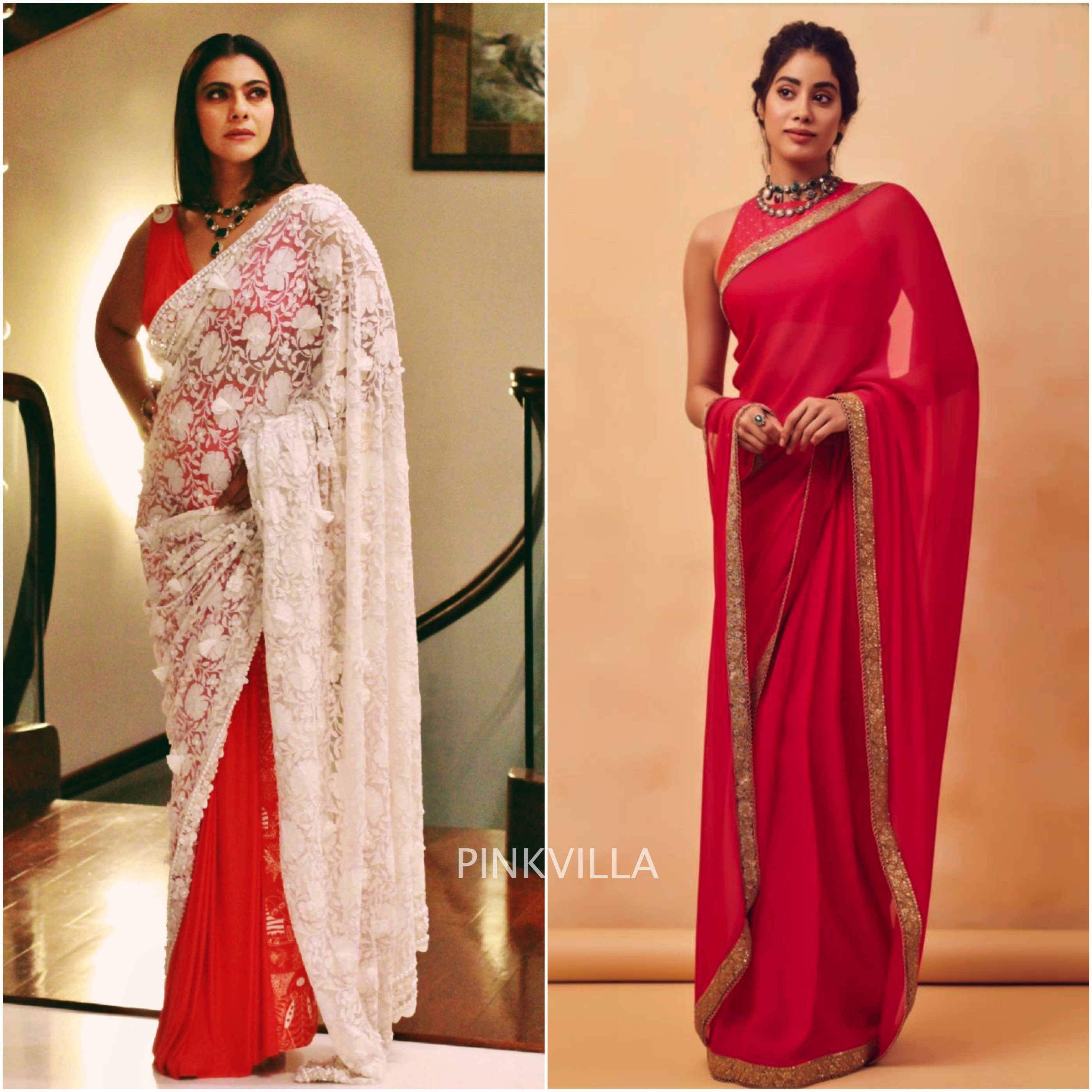 ae960a9500 Janhvi Kapoor and Kajol wear red sarees to an awards event : Yay or Nay? |  PINKVILLA
