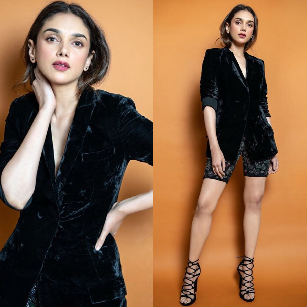 Aditi Rao Hydari teamed her velvet blazer with cycling shorts and we absolutely love it
