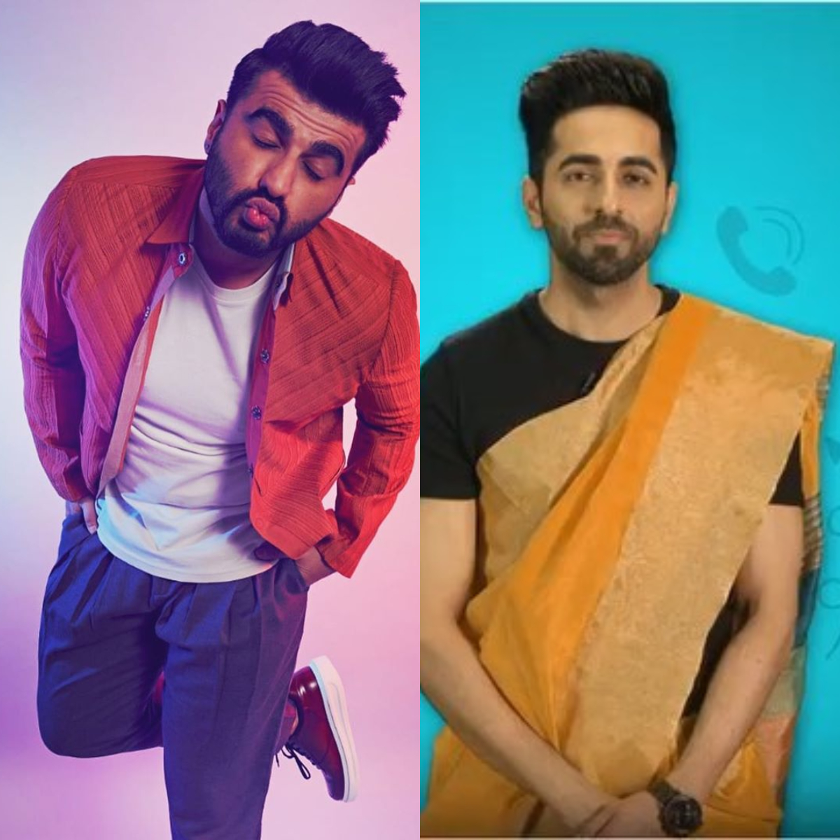 Arjun Kapoor & Ayushmann Khurrana take up photo challenge & share EPIC profile pics for social media platforms