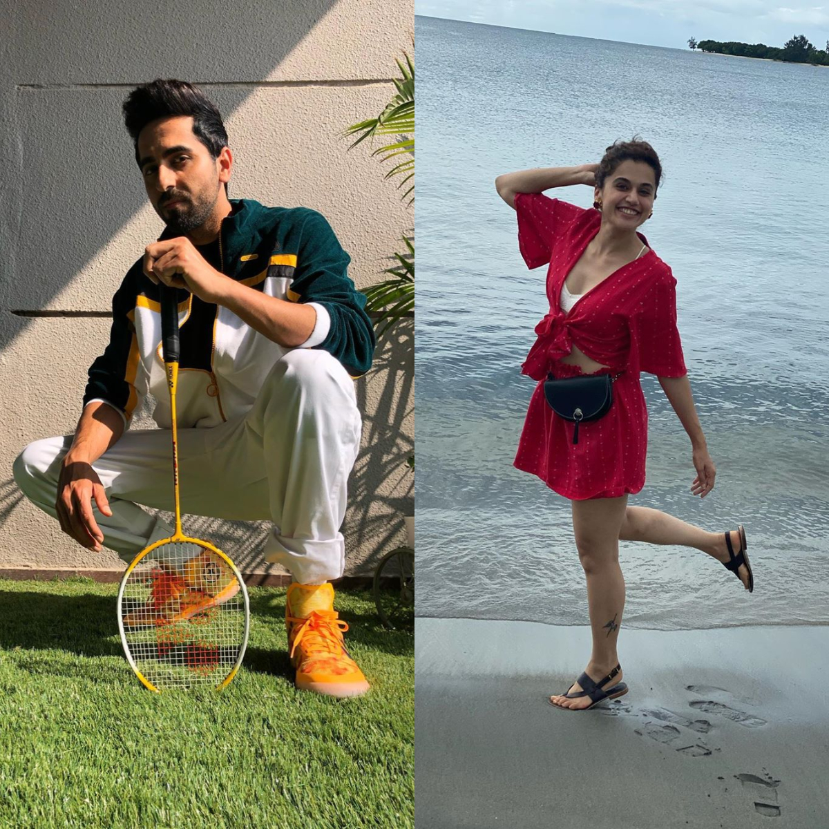 Ayushmann Khurrana looks suave as he poses with a badminton racket; Taapsee Pannu leaves a hilarious comment