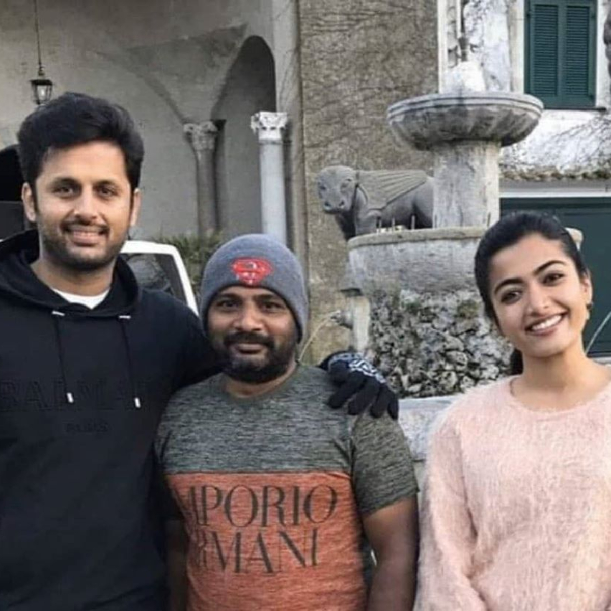 Bheeshma Rashmika Mandanna And Nithiin Are All Smiles On The Sets Of Their Upcoming Film View Pic Pinkvilla