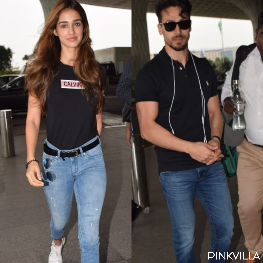 PHOTOS: Disha Patani and Tiger Shroff slay their airport look as they twin in black tee and denims