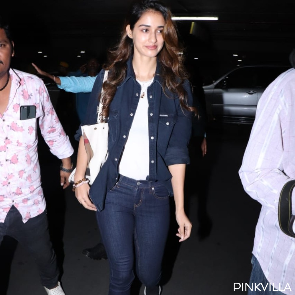 Disha Patani nails the denim on denim look as she arrives at the airport; View pics