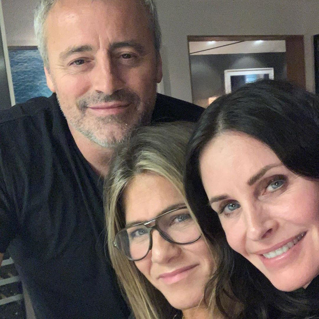 Jennifer Aniston, Courteney Cox and Matt LeBlanc come together for a 'rare night' of Friends reunion