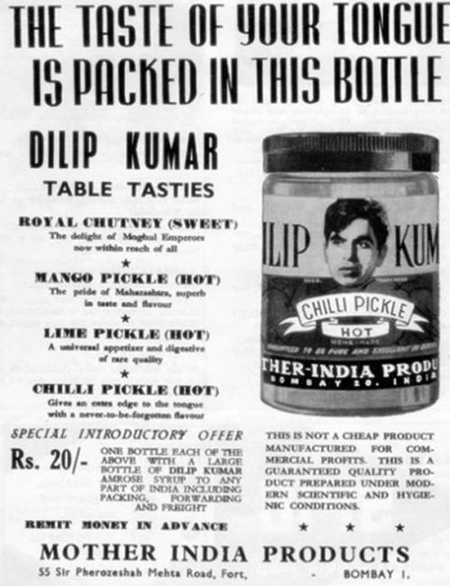 Dilip Kumar for Mother India Products' mirchi ka achar (Chilli Pickle)