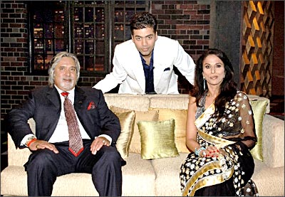 Shobhaa De at Koffee wid Karan: wid Industrialist & owner of Kingfisher Airlines Vijay Mallya..