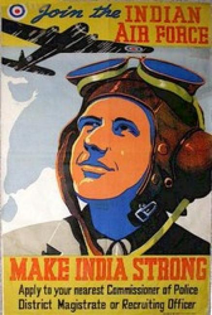A vintage Indian Air Force recruitment poster from the Second World War extorts people to apply to the District Magistrate
