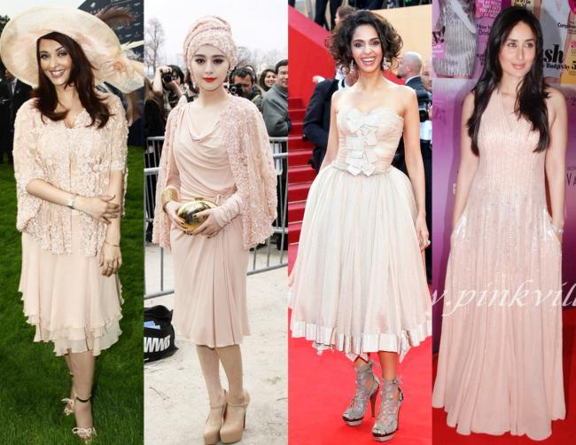 Peach Blossoms 1: Aishwarya Rai at the Longines horse racing event,Fan Bing Bing at Elie Saab Fall 2011 Show,Mallika Sherawat at Cannes,Kareena Kapoor at Cosmopolitan Fun Fearless Awards