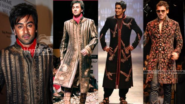 Ornate Sherwanis: Ranbir Kapoor for Arjun Khanna in 2008, Vijender Singh for Rohit Bal in 2008, John Abraham in Kolkata fashion Week 2009