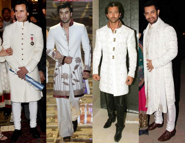 Mighty White: Saif Ali Khan at Padmashri awards, Ranbir Kapoor for RohitBal WLIFW 2009, Hrithik Roshan for Mijwan Charity Fashion Show, Aamir Khan at Imran-Avantika's Sangeeth