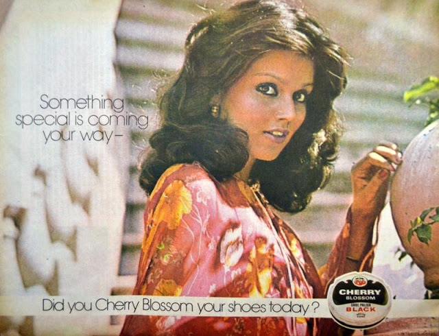 The famous Cherry Blossom Ad from late 70s, early 80s featuring model Nandini Sen.