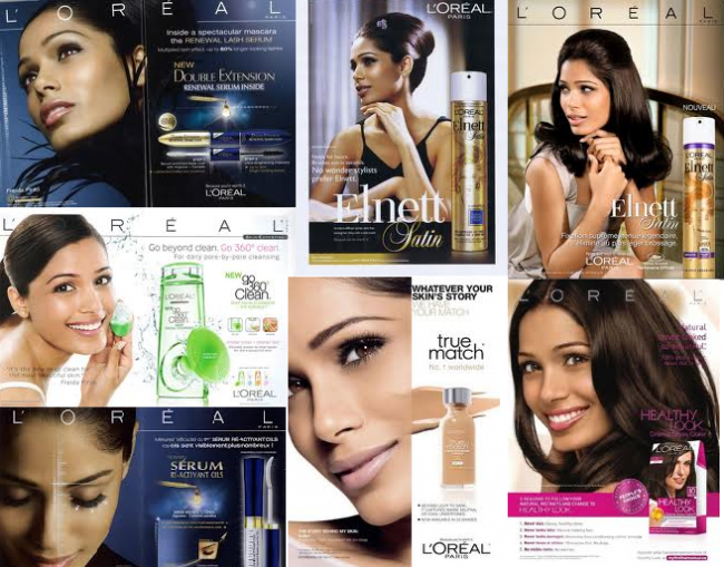 Freida Pinto's Lovely Brown Skin is flaunted in her L'Oreal ads