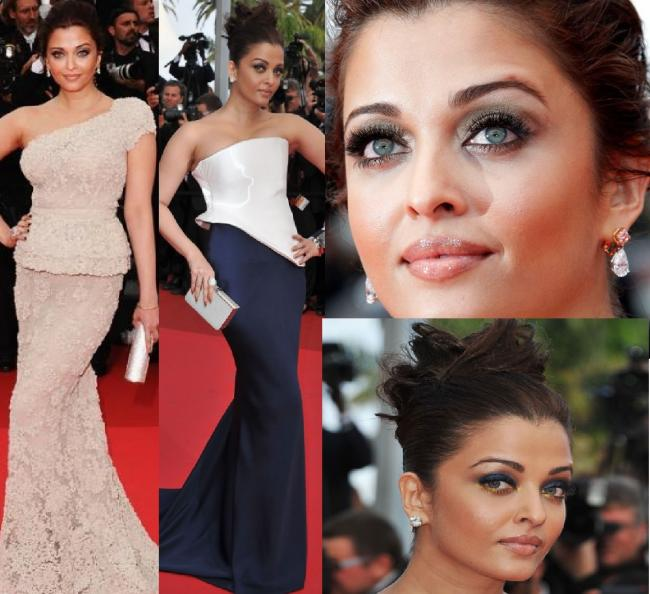 Aishwarya Rai at the 2011 Cannes Film Festival. Day One: Aishwarya stunned the crowd by wearing an off-white embellished one-shouldered gown from Elie Saab Spring 2011 Couture collection. She also wore a peplum at teh waist for more definition. She was carrying a Jimmy Choo Cosma clutch and looked the diva that she is. She wore Chopard jewelry, shimmering eyeshadow, and glossy lips. Day Two: As expected, she wore a gorgeous gown, sparkling makeup and an elegant hairstyle. The breathtaking blue and white floor sweeping gown from Armani Prive Spring 2011 collection, which she carried with much grace made her the best dressed celebrity at the 2011 Cannes Film Festival Day Two. Aishwarya had shimmering eye makeup with gold eyeshadow. She wore a pair of diamond earrings, two rings, and a bracelet watch. She carried a smart clutch. She wore her hair in a pinned up style which was trendy and sexy.