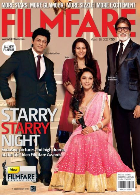 8) Amtiabh Bachchan, Shahrukh Khan, Madhuri Dixit and Kajol, March 2011