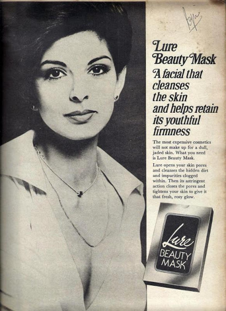 Ad for Lure Beauty Mask. Early 1970s. Model: Either the famous Persis Khambatta or (more probably) Yasmin Daji, crowned Miss India 1966 by Persis Khambatta