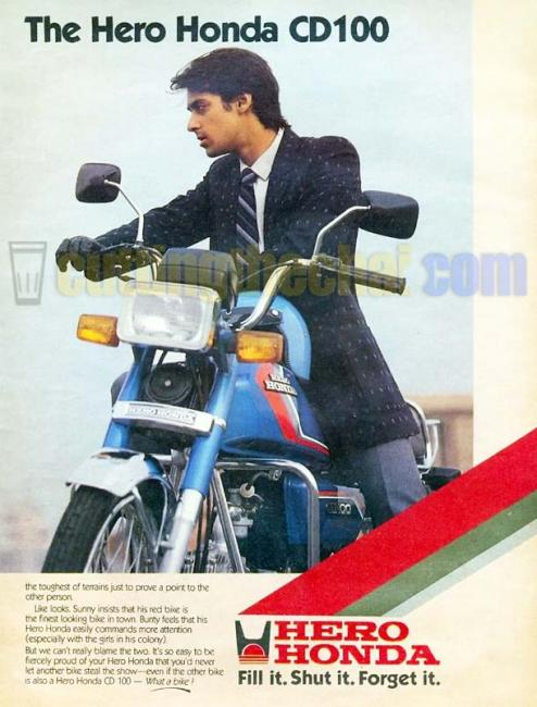 'The' Salman Khan in this advertisement for Hero Honda CD100 from the 1980s :) This is from before he did Maine Pyaar Kiya.