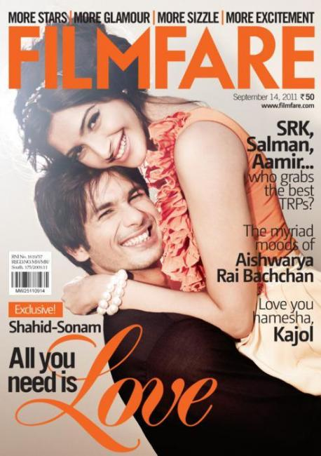 13) Shahid Kapoor and Sonam Kapoor, September 2011