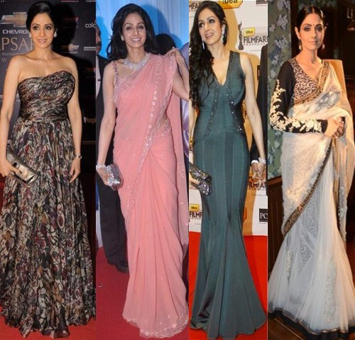 Full points to Sridevi for showing us how it's done. She rocks both, the gowns and saris, and how! Comeback brigade, please take note, that's how a gown is worn.