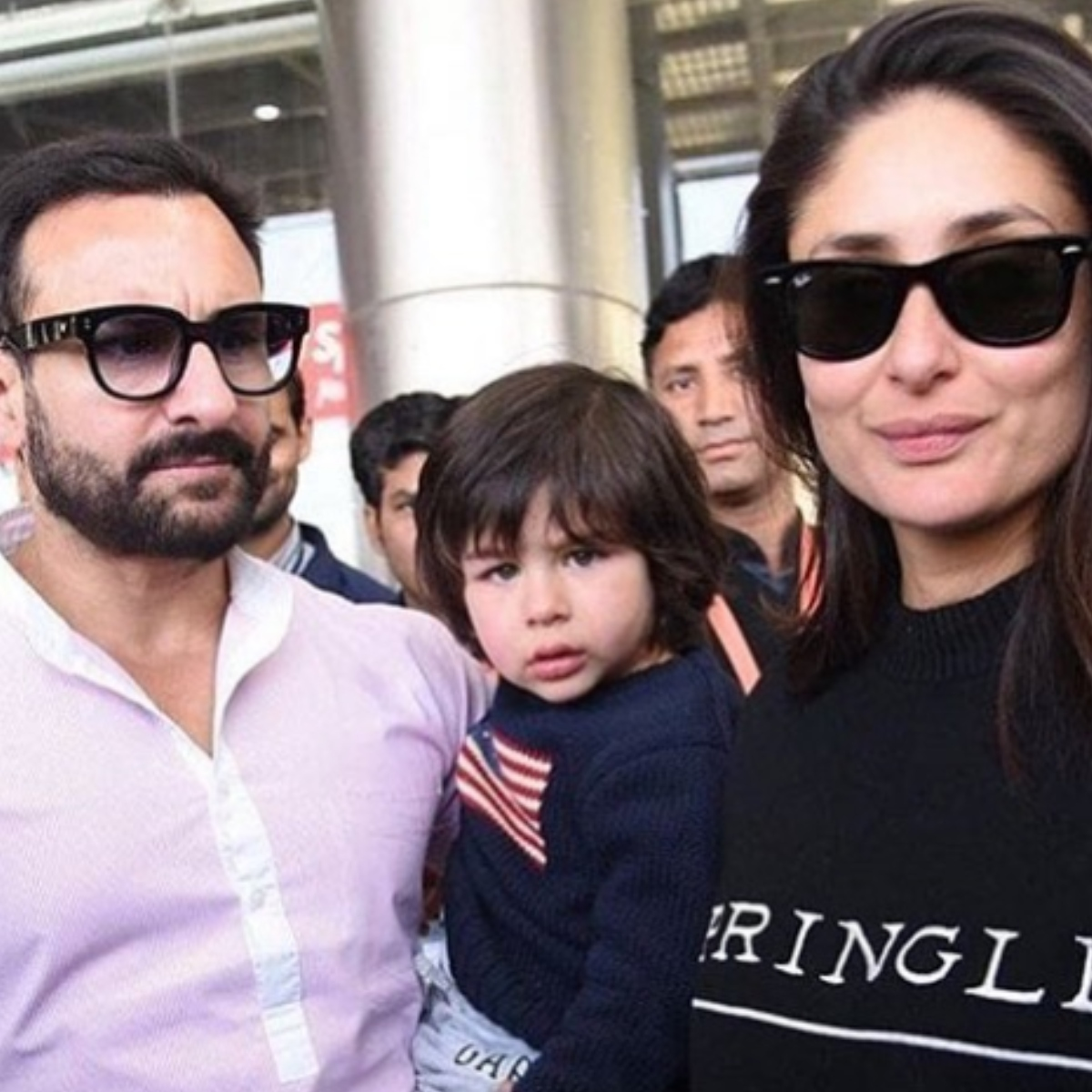 Kareena Kapoor Khan & Saif Ali Khan are all smiles while Taimur Ali Khan's expression is adorable in this PIC