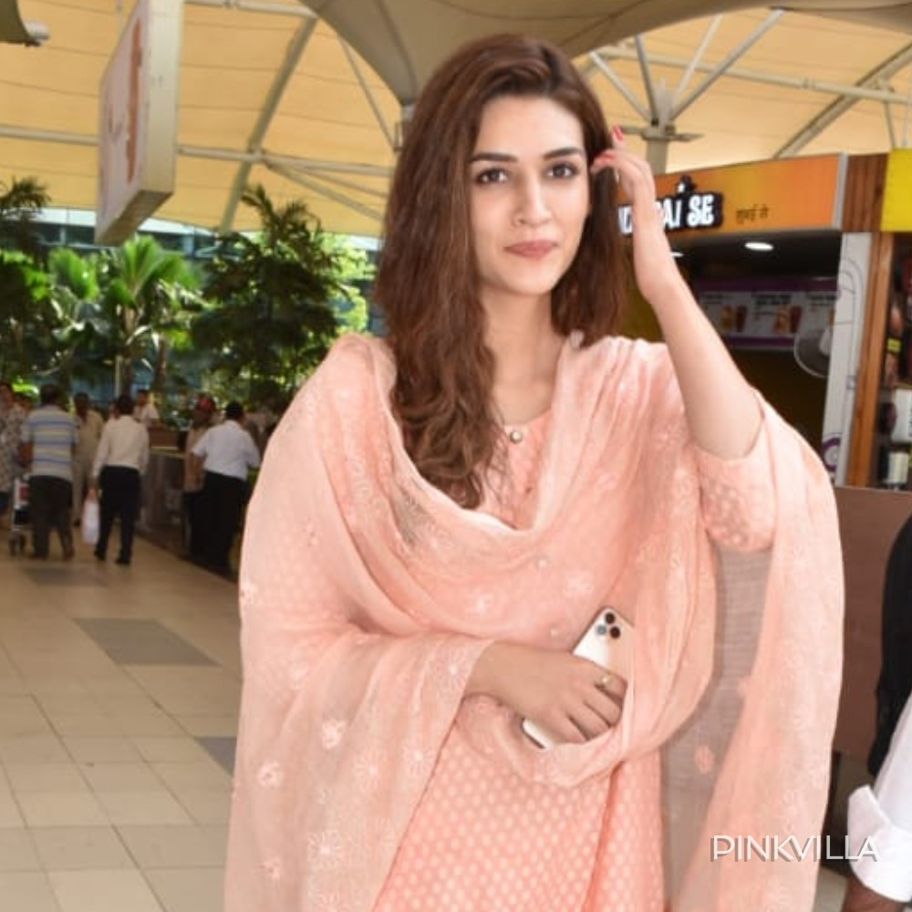 PHOTOS: Kriti Sanon looks plush and pretty as she steps out in pink ethnic wear & gets papped at the airport