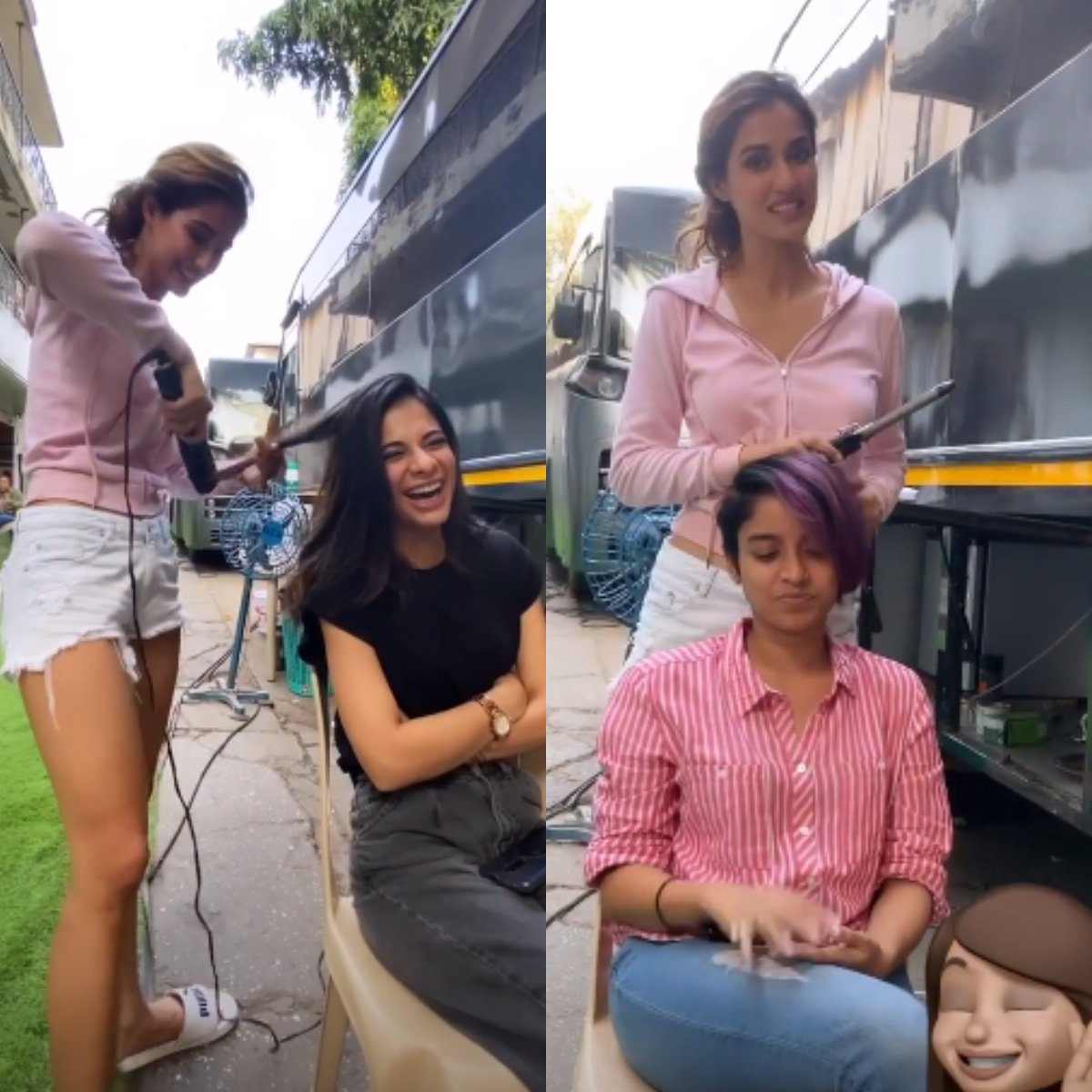 Malang Actress Disha Patani Turns Hairstylist For Her Crew Members On Sets Check It Out Pinkvilla