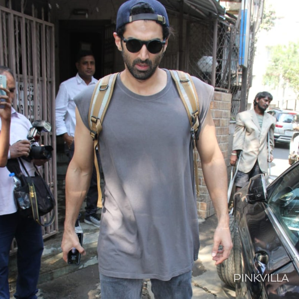 PHOTOS: Aditya Roy Kapur opts for all grey as he heads to the dubbing studio with Malang director Mohit Suri