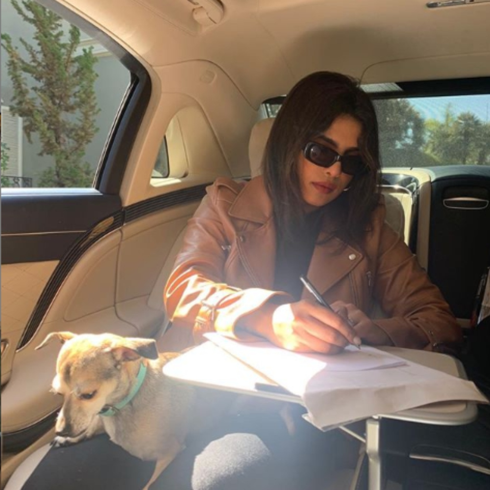PHOTO: Priyanka Chopra is engrossed in some work as her doggo Diana sits nearby her; Check it out