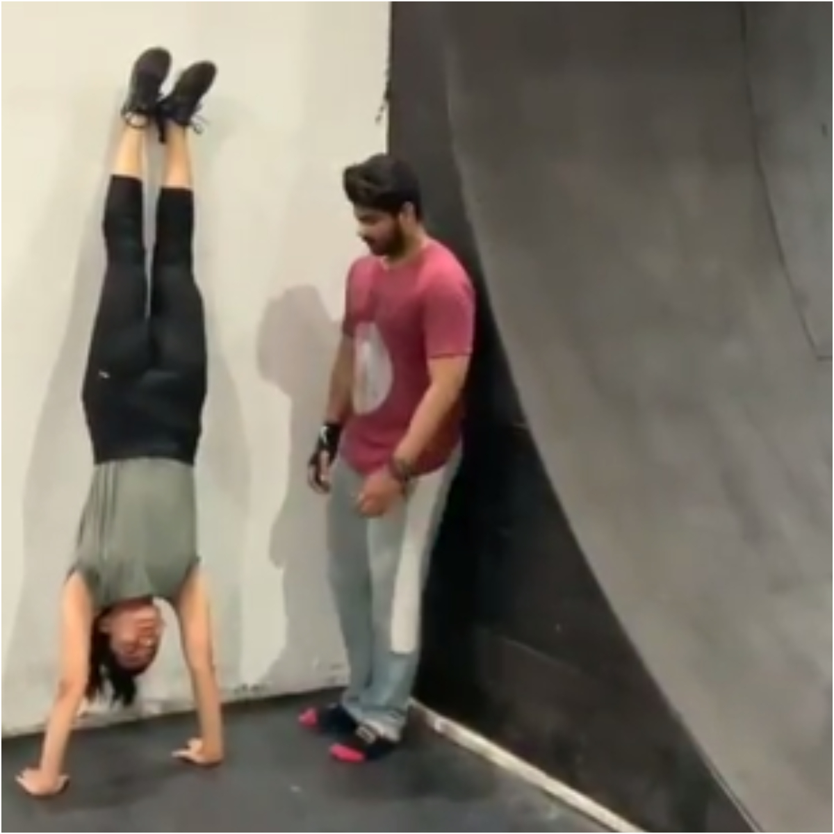 Image result for latest images of Rashmika Mandanna doing headstand and backflip