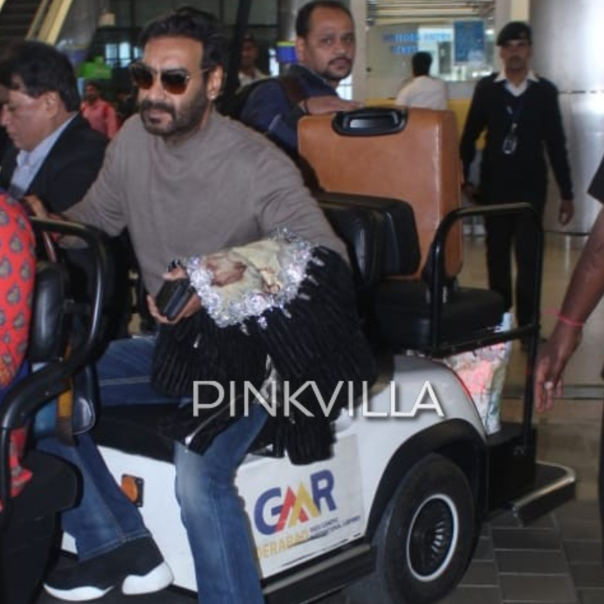 RRR: Ajay Devgn spotted at Hyderabad airport as he arrives for the shooting of Jr NTR and Ram Charan starrer
