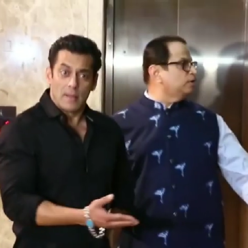 Salman Khan has an EPIC reaction to a fan who slips up to him for a selfie while he poses with Saiee Manjrekar