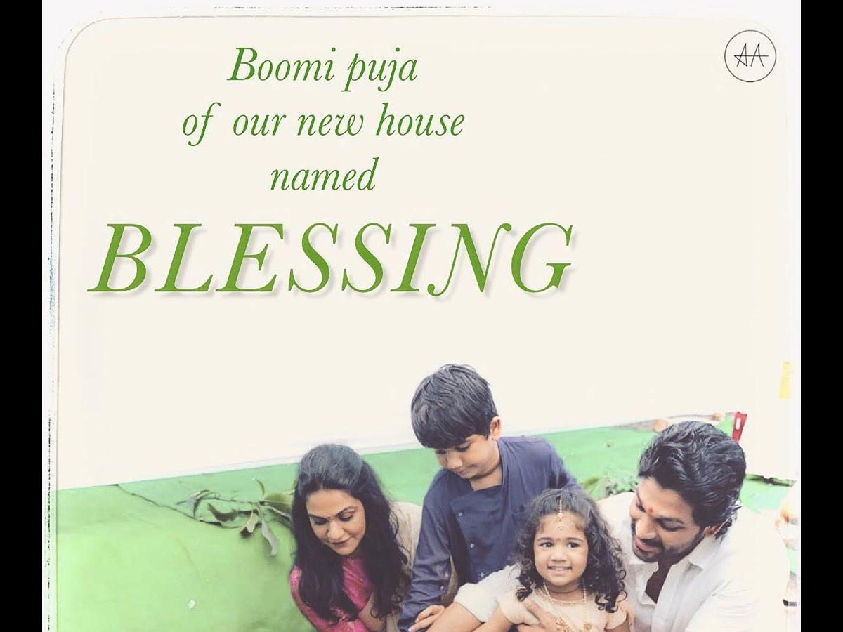 Allu Arjun With Wife Sneha And Kids Perform Bhoomi Puja For Their New House See Pic Pinkvilla
