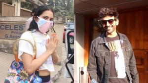 """PEACE!"" reads Sara Ali Khan's tee as she sweats it out; Kartik Aaryan spotted in a casual look"