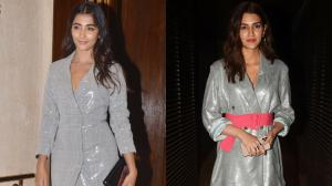 When Pooja Hegde and Kriti Sanon both wore shimmer blazer dresses at two different events & slayed it