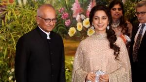 Juhi Chawla in layered Sabyasachi anarkali and husband Jay Mehta make a grand entry