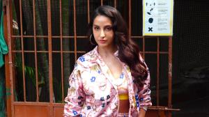 Nora Fatehi stuns in floral outfit as she steps out to promote Naach Meri Rani; Huma Qureshi keeps it casual