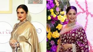 Rekha and Madhuri Dixit Nene embrace their culture with GAJRA on hair and ROYAL traditional sarees