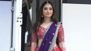 Tamannaah Bhatia is a QUEEN in a richly embellished lehenga; spotted outside a studio