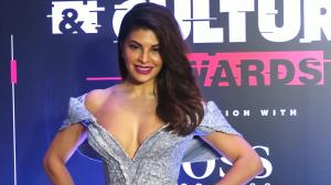 Throwback: Jacqueline Fernandez glitters in a metallic silver decolletage dress