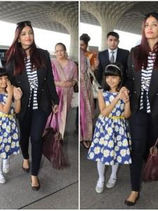 Aaradhya Bachchan snapped with her mum at the Mumbai airport
