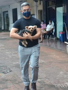 PHOTOS: Laal Singh Chaddha star Aamir Khan is spotted as he steps out with his pet dog in the city