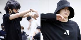 BTS Bang Bang Con: V looks like a good boy as he stretches while Jungkook sports his JK tee for rehearsals