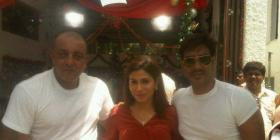 Sanjay Dutt, Arjun Rampal and Aay Devgn on the sets of Rascals