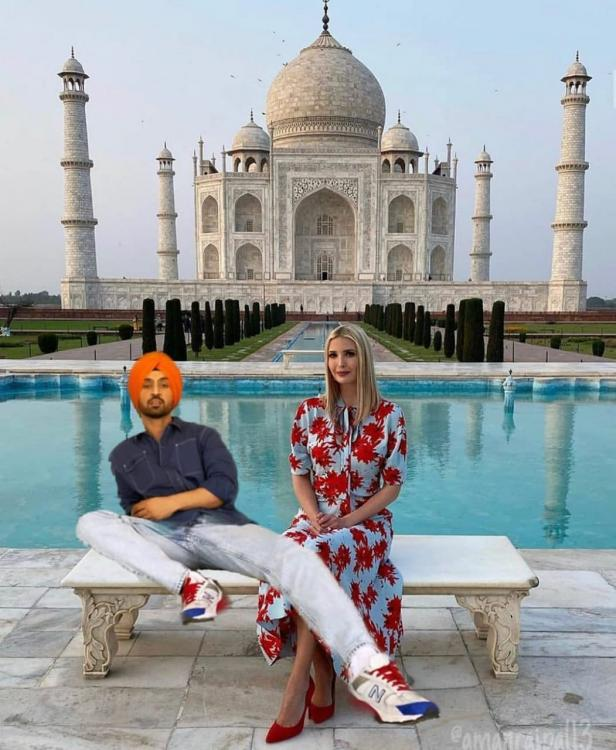 Diljit Dosanjh hilariously photoshopped himself in a picture of Ivanka Trump posing in front of the Taj Mahal