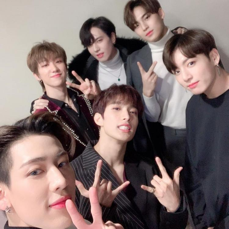 GOT7 member BamBam clicking a selfie of the 97 liner squad feat. BTS' Jungkook, GOT7's Yugyeom and SEVENTEEN's Mingyu, DK and THE8
