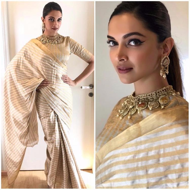 Deepika Padukone makes a strong case for metallic sarees in this look for  Padmavati promotions | PINKVILLA