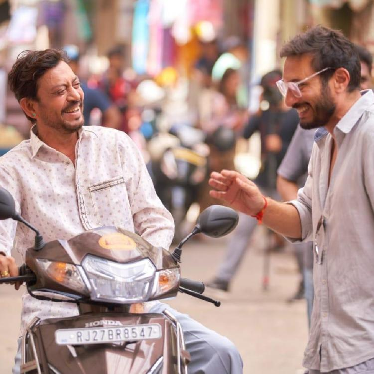 Irrfan shares a light moment with director Homi Adajania on the sets of Angrezi Medium; See Pic