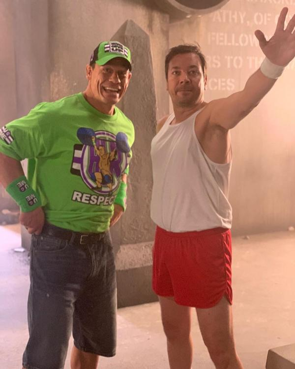 John Cena dons his WWE gear for a surprise segment with Jimmy Fallon; CHECK IT OUT